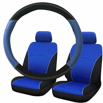 Blue & Black Steering Wheel & Front Seat Cover set for Ford Ka All Years