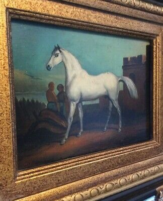 Beautiful Arabian Horse Figurative Oil On Broad Painting By Artist E.F. Holt