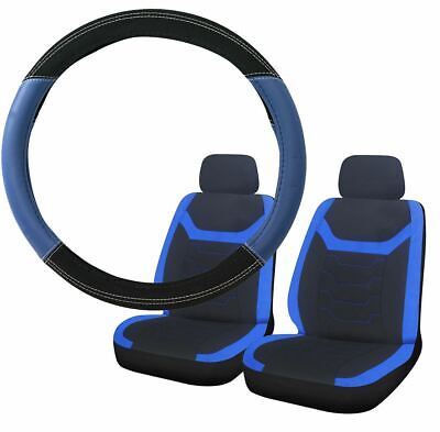 Blue & Black Steering Wheel & Front Seat Cover set for Mazda 626 Saloon
