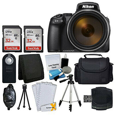 Nikon COOLPIX P1000 16MP Digital Camera (Black) + 64GB Complete Accessory Bundle