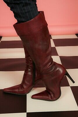 Vintage oxblood red leather fold over pointed knee boots by Theorema Size 6