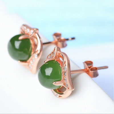 Vintage Silver/Gold Toned Faux Green Jade Studs Women Stylish Earring Gift WE