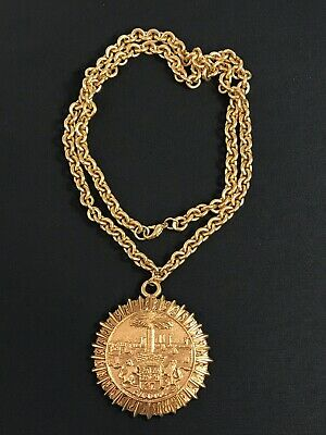 Vintage Massive Runway Gold Tone Chanel France Medallion Pendant Necklace