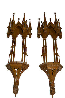 Pair Gothic Church Wall Chapels/Consoles, Really Tall & Very Impressive
