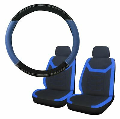 Blue & Black Steering Wheel & Front Seat Cover set for Ssangyong Kyron
