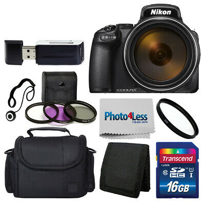 Nikon COOLPIX P1000 16MP Digital Camera 83x optical zoom wi-fi Black + 16GB Kit