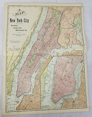 Antique Rand Mcnally Colored Lithograph Map New York City Brooklyn 1892