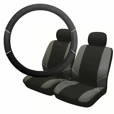 Grey & Black Steering Wheel & Front Seat Cover set for Jaguar XJS All Years