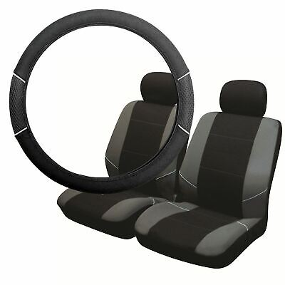 Grey & Black Steering Wheel & Front Seat Cover set for Ford Cortina