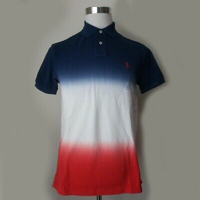 POLO Ralph Lauren Men Size M Short Sleeve Blue White Red Deep Faded Style