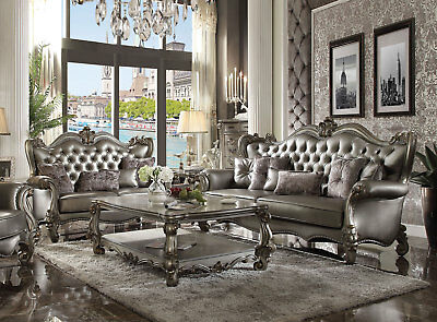MYSTIQUE Silver Platinum Living Room Couch Set - NEW Faux Leather Sofa Loveseat
