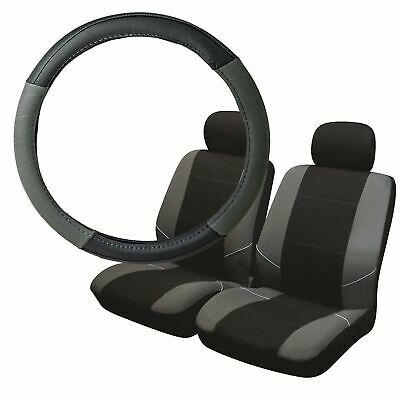 Grey & Black Steering Wheel & Front Seat Cover set for Chrysler Voyager 97-08