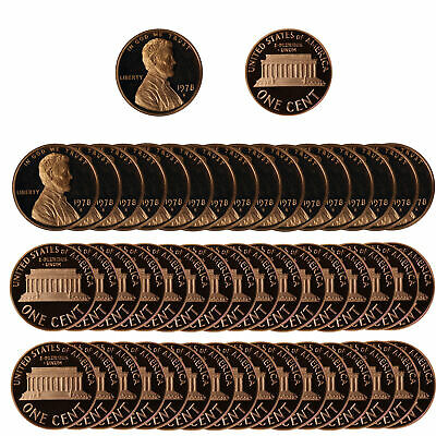 1978 Gem Proof Lincoln Cent Roll - 50 US Coins