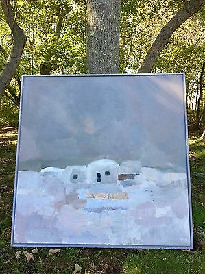 Vintage XL SWEDISH ABSTRACT LANDSCAPE oil/Canvas Painting SIGNED 1978 MCM art