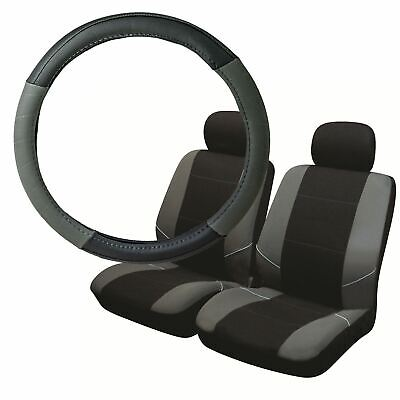 Grey & Black Steering Wheel & Front Seat Cover set for Lexus IS All Years