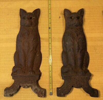 Vintage Cast Iron Cat Fireplace Andirons ~Parts Repair Repurpose ~Steampunk Art