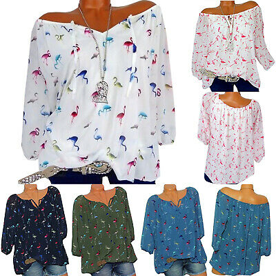 Women Flamingo Print Loose 3/4 Sleeve  Causal Lace Up Shirt Oversize Tops Blouse
