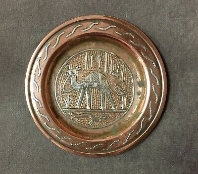 Islamic CAIROWARE Damascene Silver Inlaid Copper PIN TRAY Camel Snake