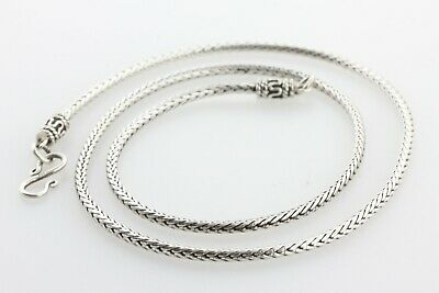 """Bali Style Sterling Silver 925 Rope Wheat Snake 2.5MM Chain Necklace - 18"""""""