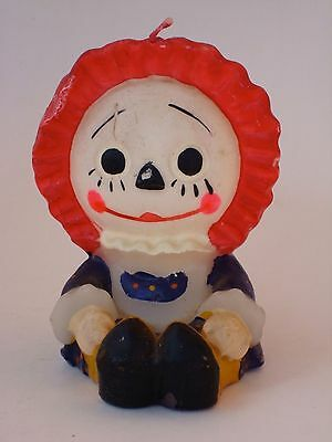 """Raggedy Ann Doll Vintage Red White Blue 5"""" Unlit Candle"""