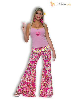 Ladies Hippy Bell Bottom Flares Trousers Flower Power 60s Hippie Fancy Dress