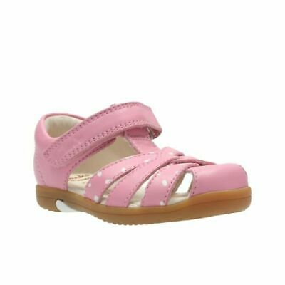 Clarks Softly Mae Pink Leather Girls First Shoes Size UK 5 1/2-6F