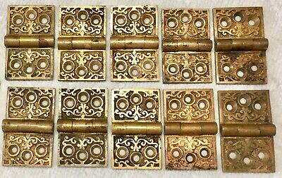 10-Vintage Antique Brass Heavy Cabinet Hinges