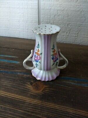 VINTAGE LIMOGES HAT Pin Holder Red Rose Blue Daisy Flower Cream