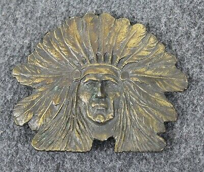 Vintage Indian Chief Headdress  Native American Belt Buckle