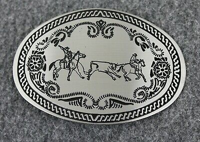 Vintage Cattle Roping Western Cowboy Winco Assoc. Solid Gun Metal Belt Buckle
