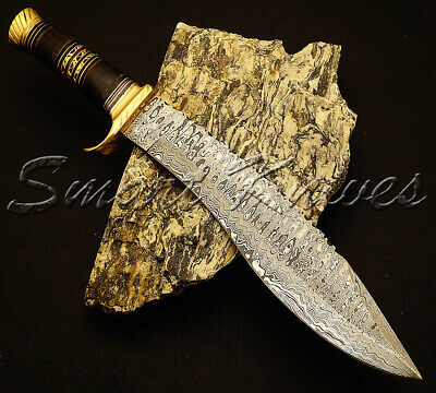 Smart Knives Hand Made Damascus Steel Hunting Kukri Bowie Knife Handle Bull Horn