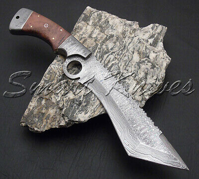 Smart Knives Hand Made Damascus Steel Hunting Kukri Bowie Tanto Finger Knife