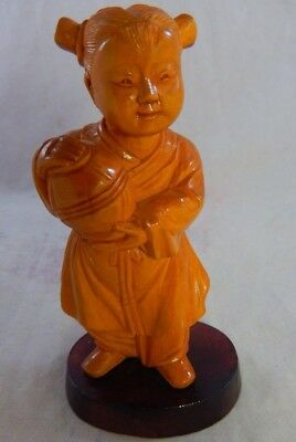 """Vintage Chinese Wooden Girl Figurine Hand Carved Detailed Marked Character 4.25"""""""