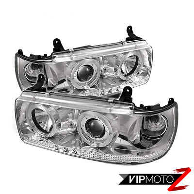 For 91-97 Toyota Land Cruiser SUV Chrome Projector Halo LED Headlights +TRIM KIT