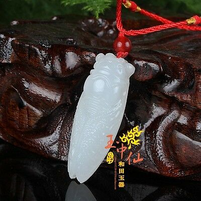 100% Chinese natural nephrite White jade Carving pendant Cicadas 一鸣惊人