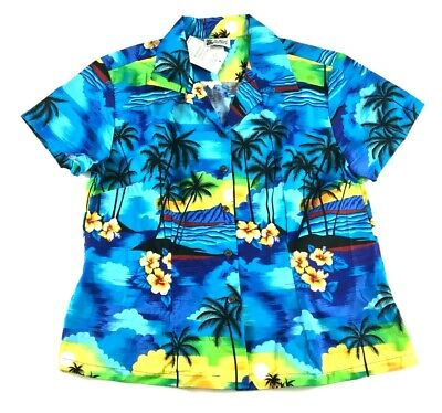 30b14925 Aloha Republic New Mens Blue Floral Hawaiian S/S Button Front Shirt Size  Large