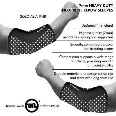 9341101480 Elbow Sleeve Support Pair Heavy Duty Sleeves Sbd Bench Press Crossfit Gym  Unisex