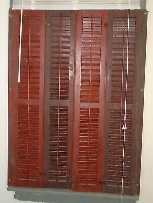 2 Vintage Architectural Salvage Indoor 3 Panel Folding Wooden Window Shutter Set