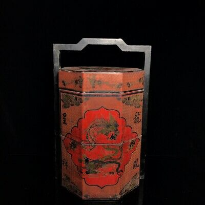 """15"""" Chinese old antique wood Lacquer ware handmade Dragon Phoenix food box"""
