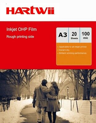 A3 OHP Film Inkjet  Overhead  Projector  Clear Film - 20sheets Hartwii 420x197mm