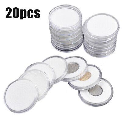 20PCS Coin Cases Capsules Holder Applied Clear Plastic Round Storage Box Parts