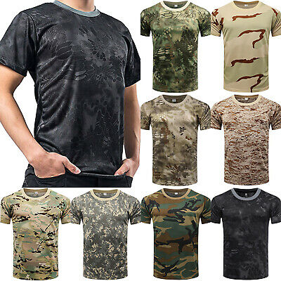 Men Tactical Breathable Camo Quick Dry Tops Short Sleeve Tee Mesh T-Shirt Blouse
