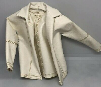 Vintage 1960's BARBIE Ken Doll White Leather Jacket Two Sewed Up Holes #8
