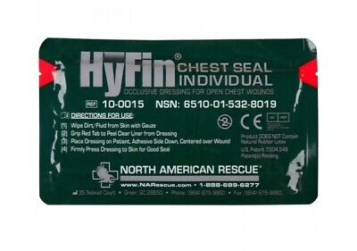 Lot Of 10 - North American Rescue  NAR Hyfin Chest Seal Gauze Occlusvie Dressing