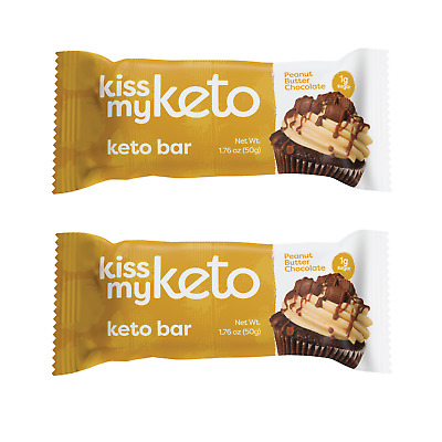 24 Keto Bar Chocolate Peanut Butter Low Carb Diet Snack High Protein No Sugar