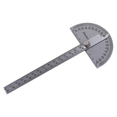 Small Ruler Round Head Rotary Protractor Stainless Steel Measuring Tool
