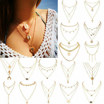 Latest Fashion Women Multilayer Clavicle Necklace Pendant Choker Chain Jewelry