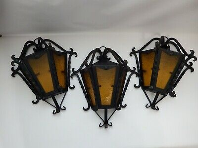 Vintage Gothic Spanish Revival Wrought Iron Black Amber Glass Light Wall Sconce