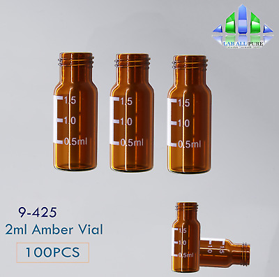 100Pcs Amber Glass Vials Auto-Samplers HPLC 2ML SCREW THREAD 9-425 Whole Fit