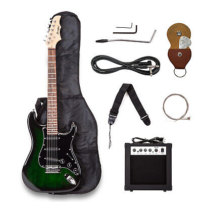Green Electric Guitar Beginner w/15W amp,Case,Accessories Pack Free Pick Holder